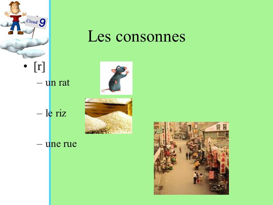 Les consonnes [r] –un rat –le riz –une rue