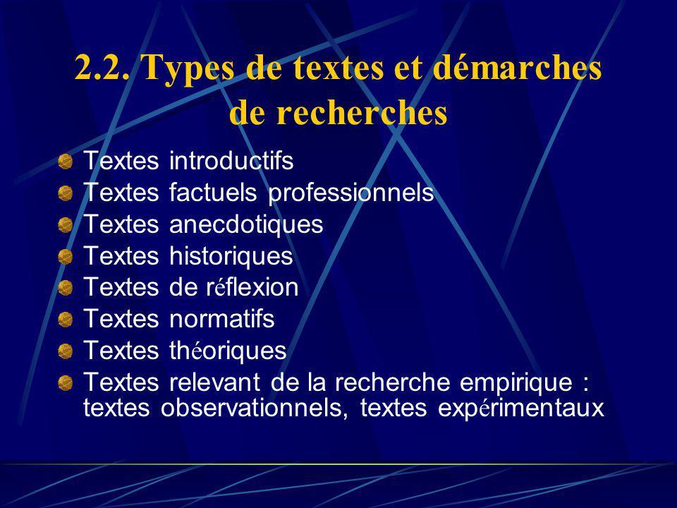 2.2. Types de textes et démarches de recherches Textes introductifs Textes factuels professionnels Textes anecdotiques Textes historiques Textes de r