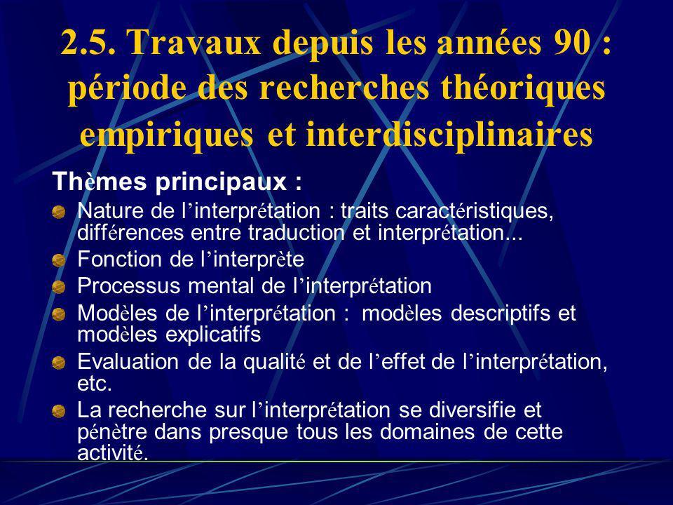 2.5. Travaux depuis les années 90 : période des recherches théoriques empiriques et interdisciplinaires Th è mes principaux : Nature de l interpr é ta