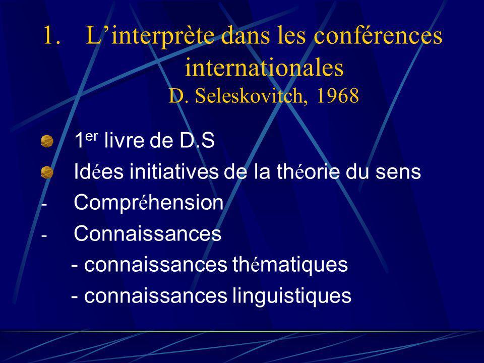 1.Linterprète dans les conférences internationales D.