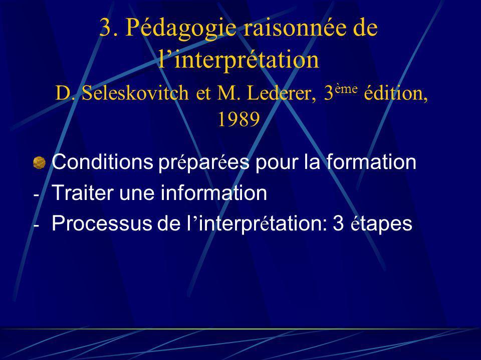 3. Pédagogie raisonnée de linterprétation D. Seleskovitch et M.