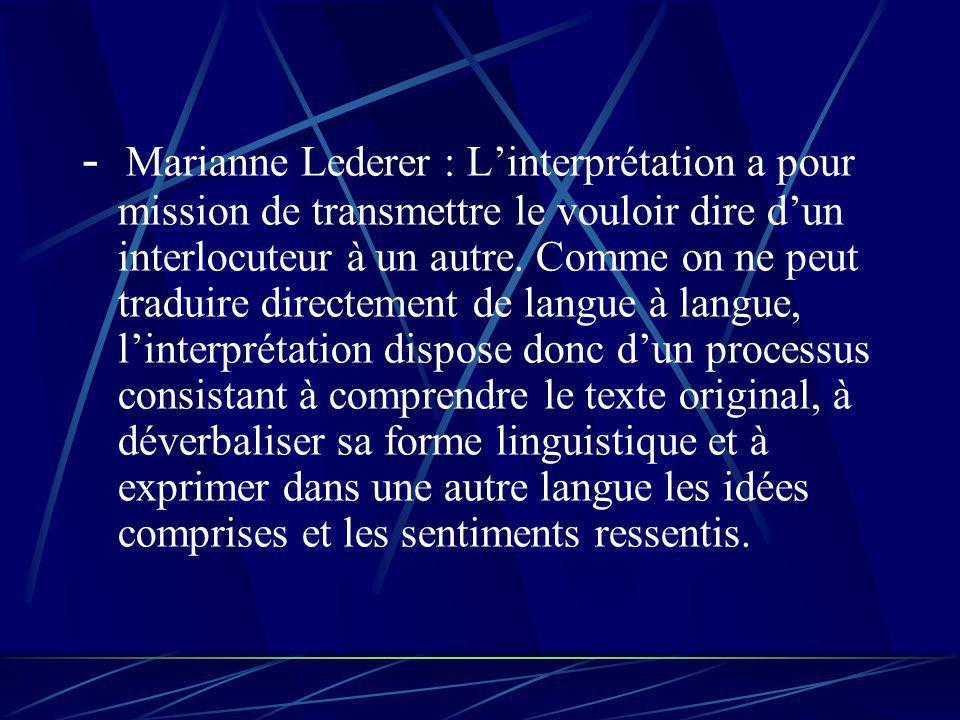 - Marianne Lederer : Linterprétation a pour mission de transmettre le vouloir dire dun interlocuteur à un autre.