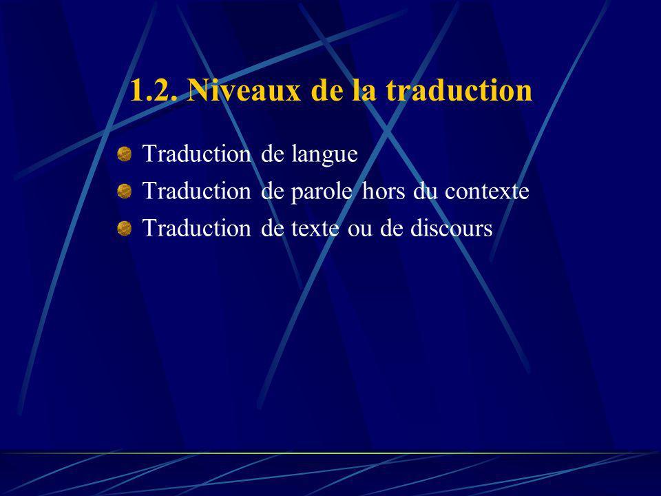 1.2. Niveaux de la traduction Traduction de langue Traduction de parole hors du contexte Traduction de texte ou de discours