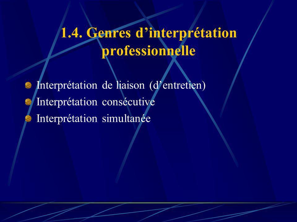 1.4. Genres dinterprétation professionnelle Interprétation de liaison (dentretien) Interprétation consécutive Interprétation simultanée