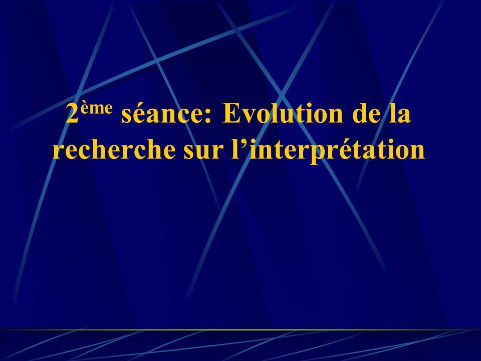 2 ème séance: Evolution de la recherche sur linterprétation