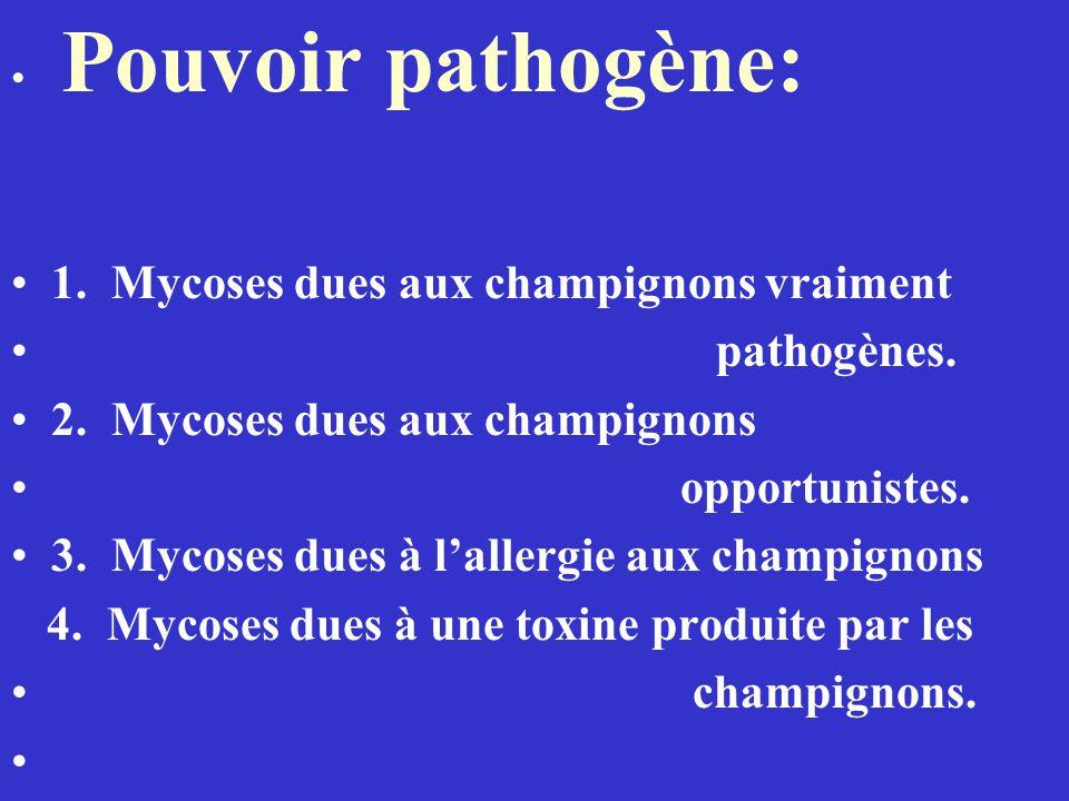 Pouvoir pathogène: 1.Mycoses dues aux champignons vraiment pathogènes.