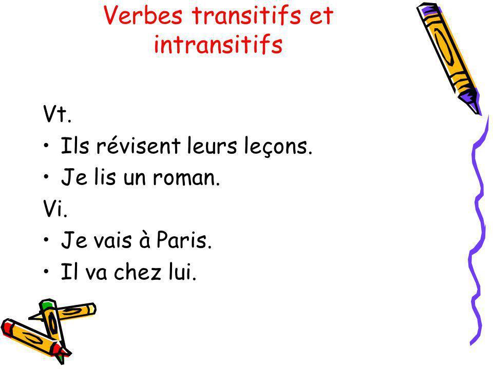 Verbes transitifs et intransitifs Vt. Ils révisent leurs leçons. Je lis un roman. Vi. Je vais à Paris. Il va chez lui.