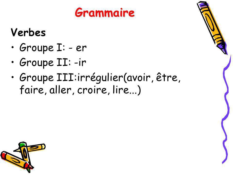 Grammaire Verbes Groupe I: - er Groupe II: -ir Groupe III:irrégulier(avoir, être, faire, aller, croire, lire...)