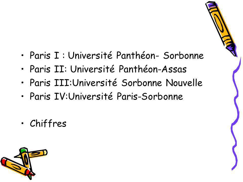 Paris I : Université Panthéon- Sorbonne Paris II: Université Panthéon-Assas Paris III:Université Sorbonne Nouvelle Paris IV:Université Paris-Sorbonne