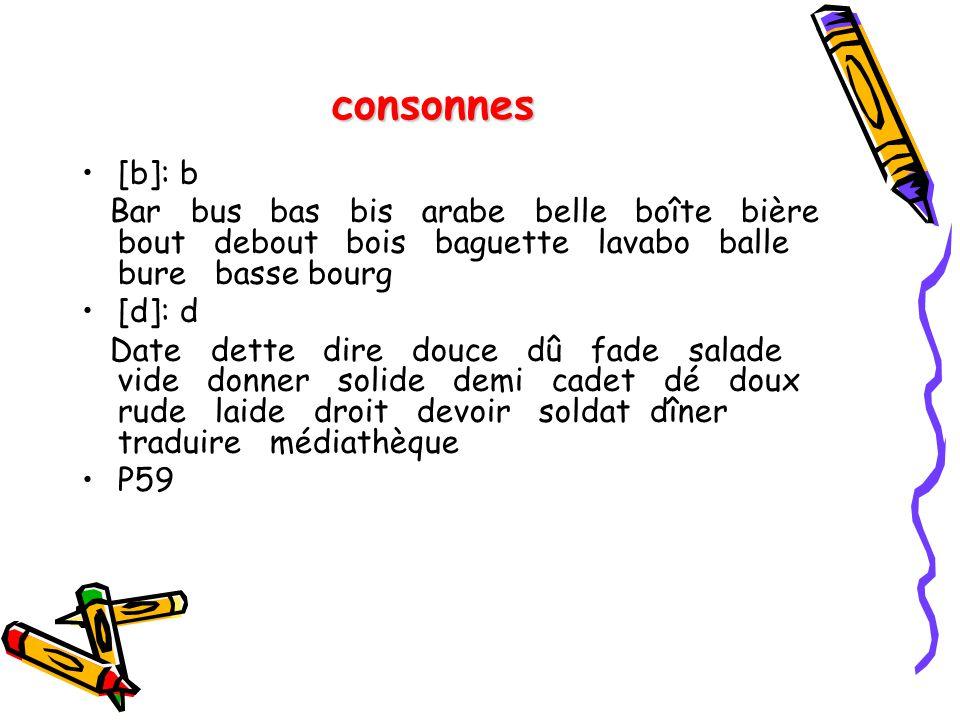 consonnes [b]: b Bar bus bas bis arabe belle boîte bière bout debout bois baguette lavabo balle bure basse bourg [d]: d Date dette dire douce dû fade