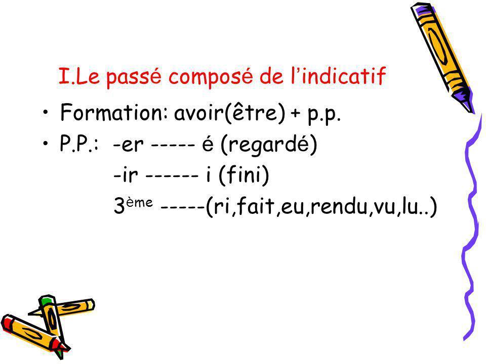 I.Le pass é compos é de l indicatif Formation: avoir(être) + p.p. P.P.: -er ----- é (regard é ) -ir ------ i (fini) 3 è me -----(ri,fait,eu,rendu,vu,l