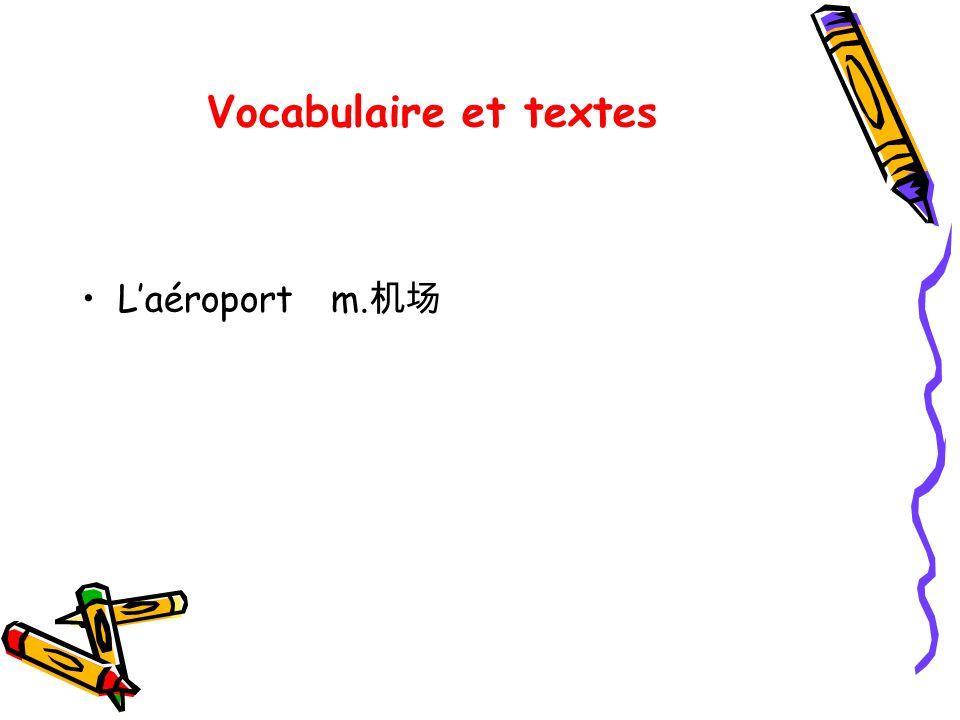 Vocabulaire et textes Laéroport m.