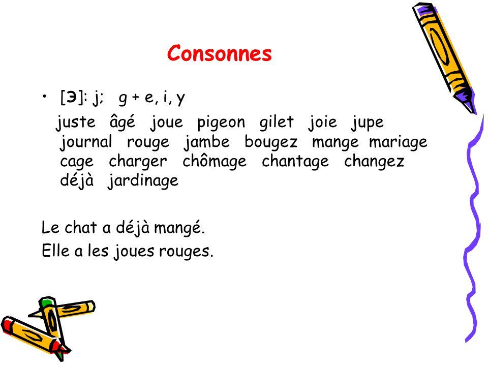 Consonnes [ э ]: j; g + e, i, y juste âgé joue pigeon gilet joie jupe journal rouge jambe bougez mange mariage cage charger chômage chantage changez d