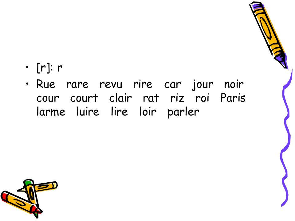 [r]: r Rue rare revu rire car jour noir cour court clair rat riz roi Paris larme luire lire loir parler