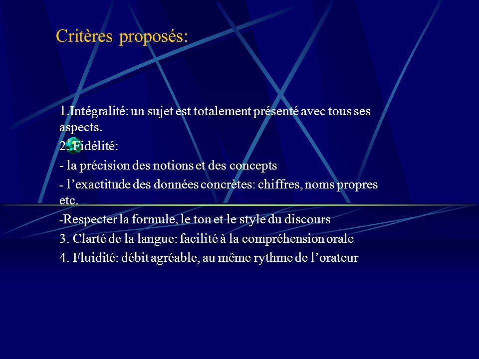 Critères proposés: 1.Intégralité: un sujet est totalement présenté avec tous ses aspects.
