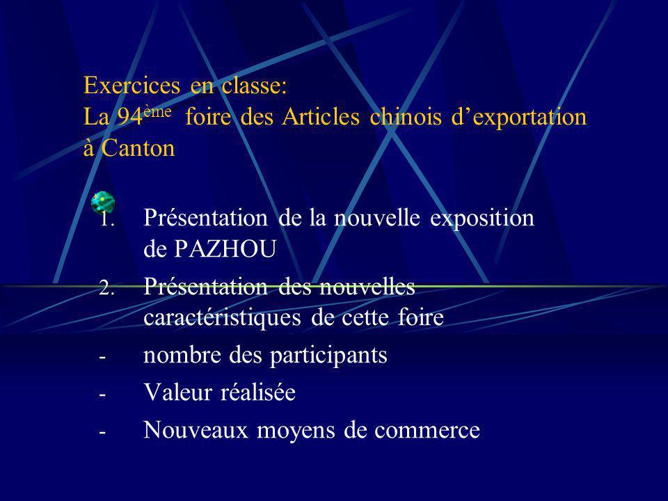 Exercices en classe: La 94 ème foire des Articles chinois dexportation à Canton 1.