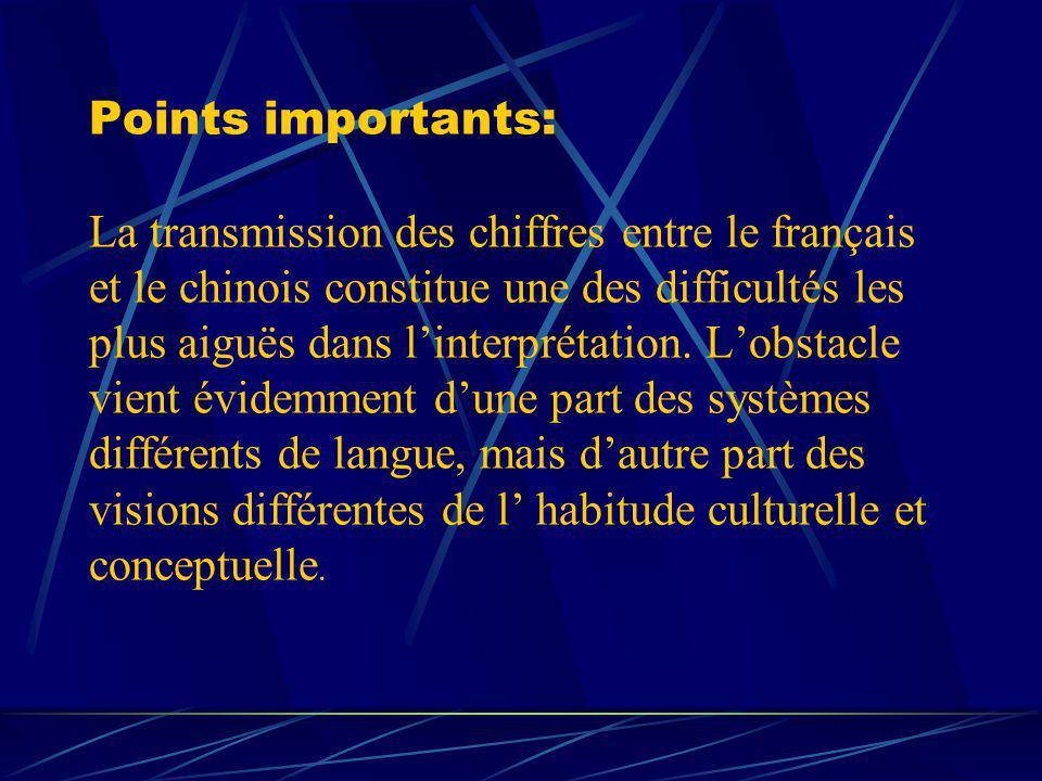 Points importants: La transmission des chiffres entre le français et le chinois constitue une des difficultés les plus aiguës dans linterprétation. Lo