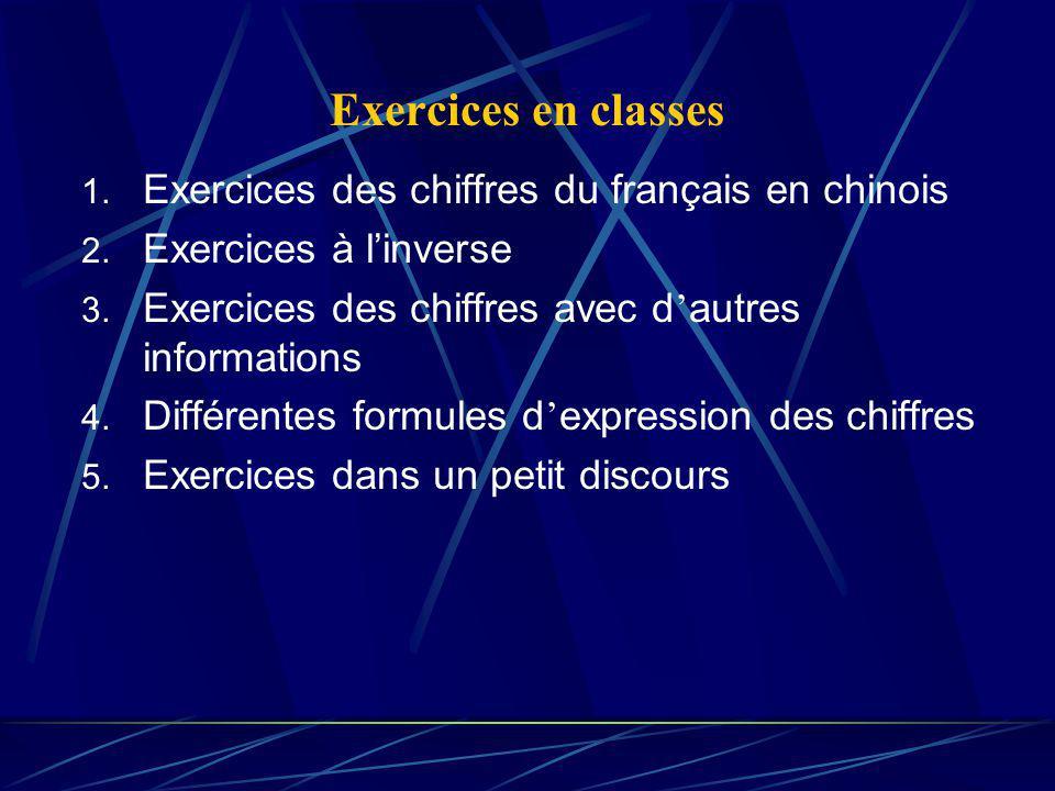 Exercices en classes 1. Exercices des chiffres du français en chinois 2. Exercices à linverse 3. Exercices des chiffres avec d autres informations 4.