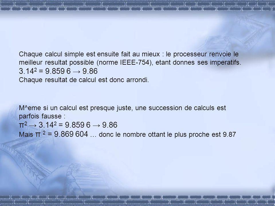 Chaque calcul simple est ensuite fait au mieux : le processeur renvoie le meilleur resultat possible (norme IEEE-754), etant donnes ses imperatifs.