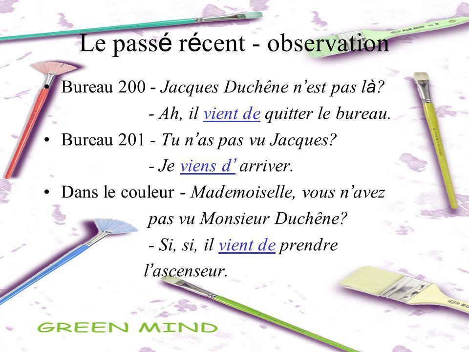 Le pass é r é cent - observation Bureau 200 - Jacques Duchêne n est pas l à ? - Ah, il vient de quitter le bureau. Bureau 201 - Tu n as pas vu Jacques