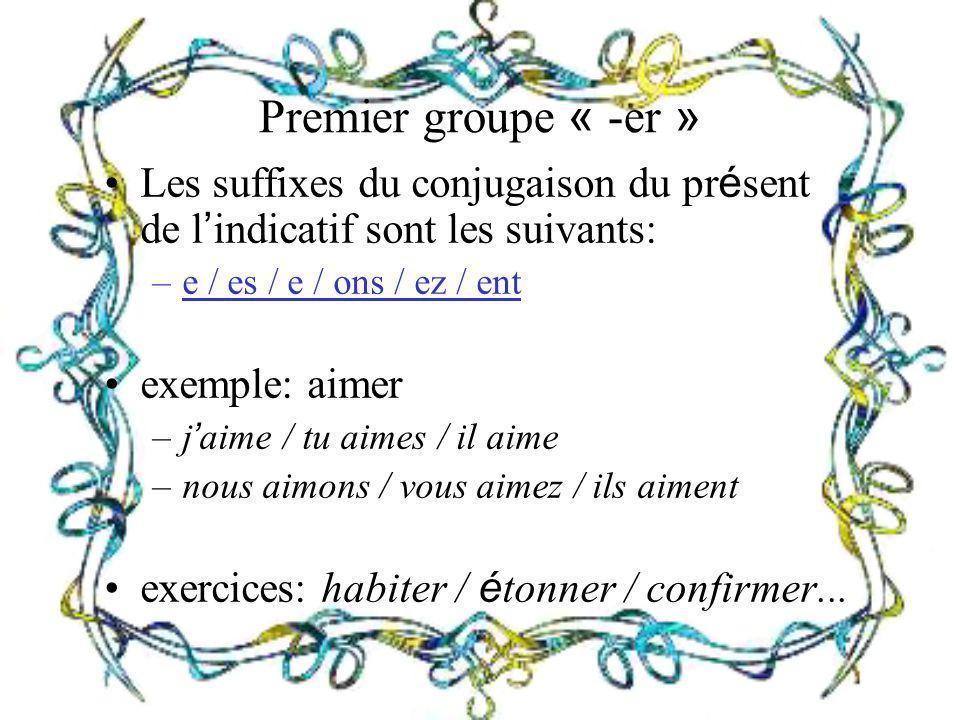Premier groupe « -er » Les suffixes du conjugaison du pr é sent de l indicatif sont les suivants: –e / es / e / ons / ez / ent exemple: aimer –j aime