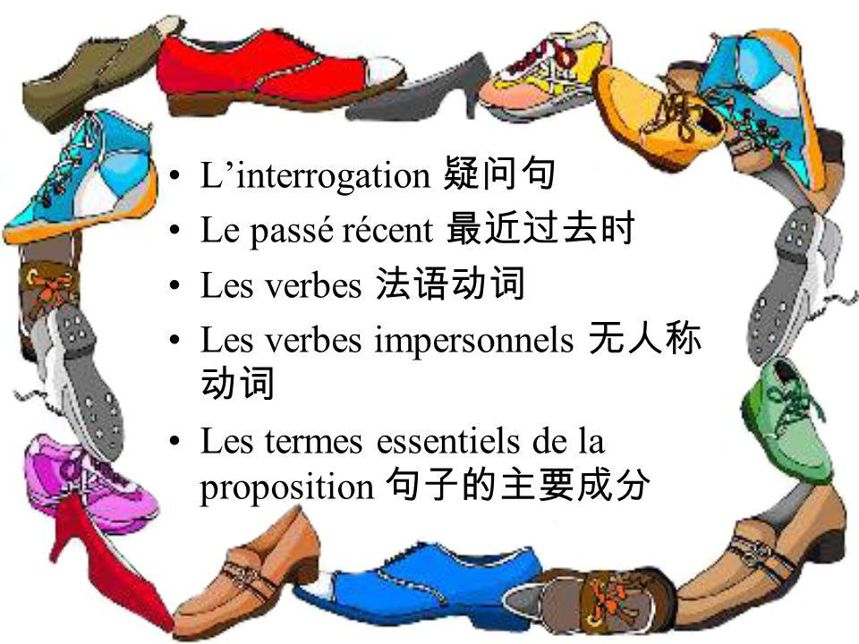 Linterrogation Le passé récent Les verbes Les verbes impersonnels Les termes essentiels de la proposition