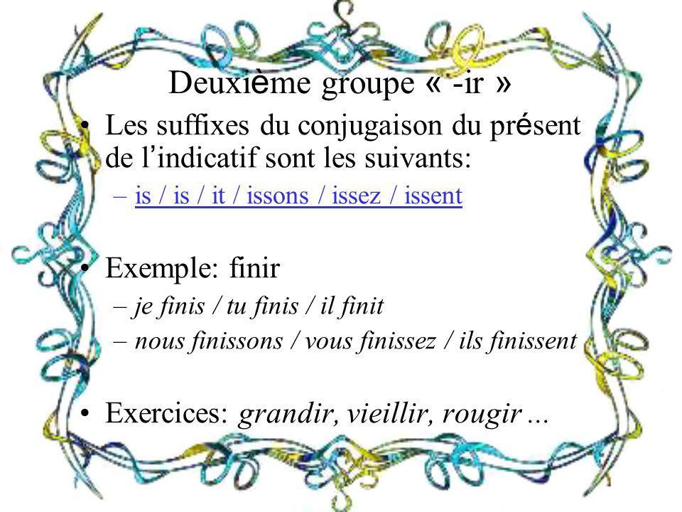 Deuxi è me groupe « -ir » Les suffixes du conjugaison du pr é sent de l indicatif sont les suivants: –is / is / it / issons / issez / issent Exemple: