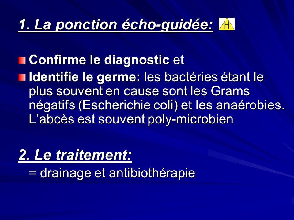 1. La ponction écho-guidée: Confirme le diagnostic et Identifie le germe: les bactéries étant le plus souvent en cause sont les Grams négatifs (Escher