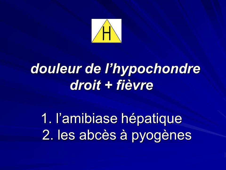douleur de lhypochondre droit + fièvre 1. lamibiase hépatique 2. les abcès à pyogènes douleur de lhypochondre droit + fièvre 1. lamibiase hépatique 2.