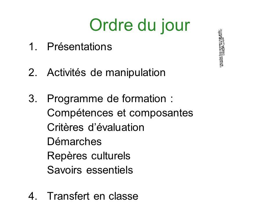 Ordre du jour 1.Présentations 2.Activités de manipulation 3.Programme de formation : Compétences et composantes Critères dévaluation Démarches Repères