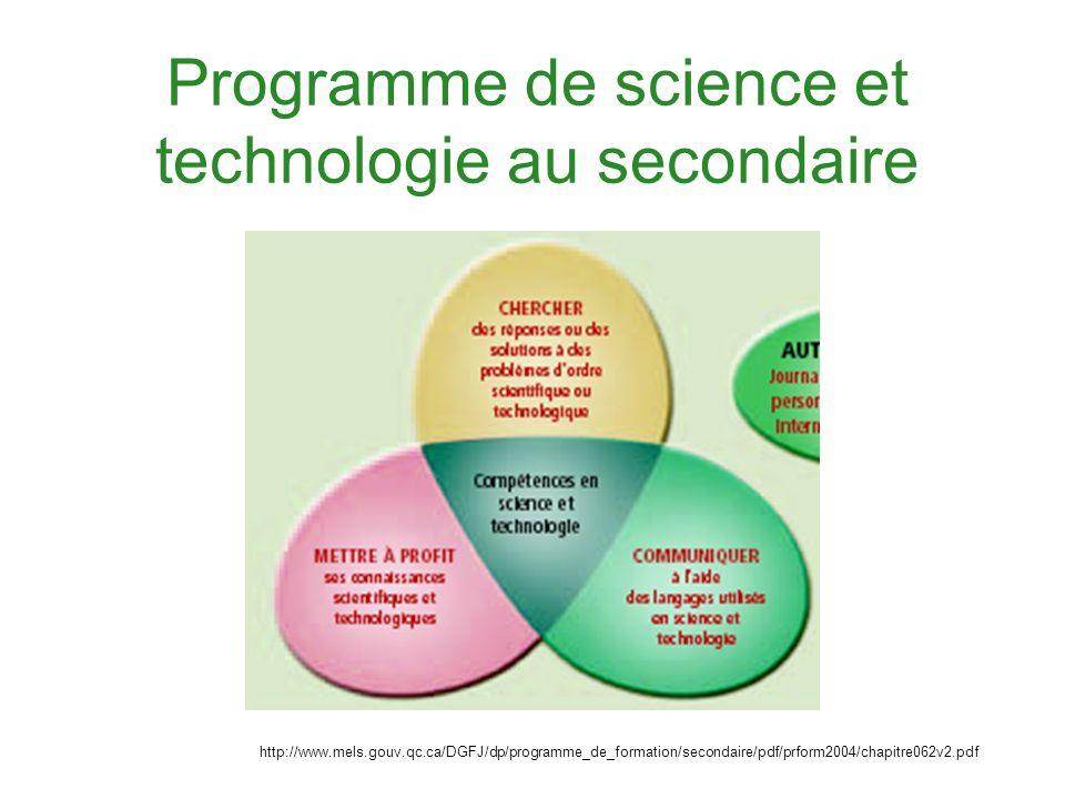 Programme de science et technologie au secondaire http://www.mels.gouv.qc.ca/DGFJ/dp/programme_de_formation/secondaire/pdf/prform2004/chapitre062v2.pd