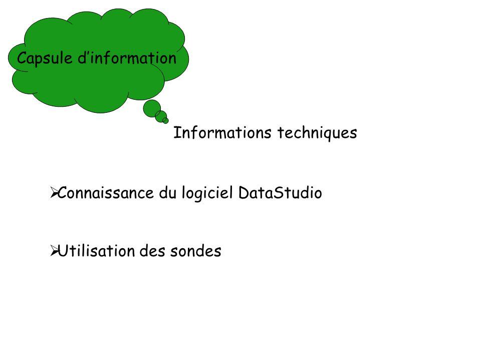 Capsule dinformation Connaissance du logiciel DataStudio Utilisation des sondes Informations techniques