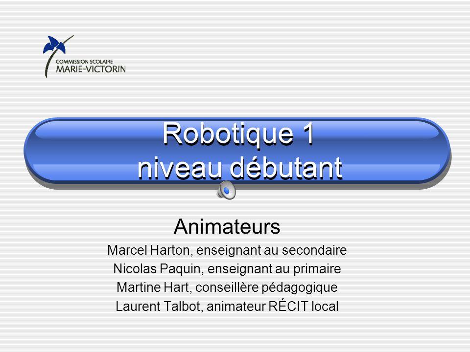 Robotique 1 niveau débutant Animateurs Marcel Harton, enseignant au secondaire Nicolas Paquin, enseignant au primaire Martine Hart, conseillère pédagogique Laurent Talbot, animateur RÉCIT local