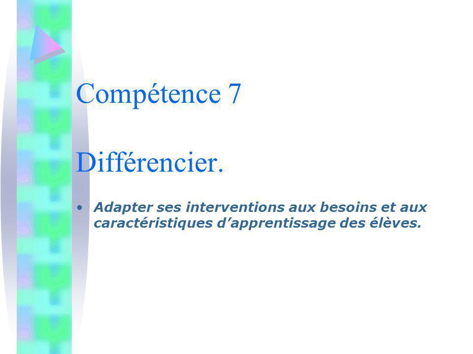 Compétence 7 Différencier. Adapter ses interventions aux besoins et aux caractéristiques dapprentissage des élèves.