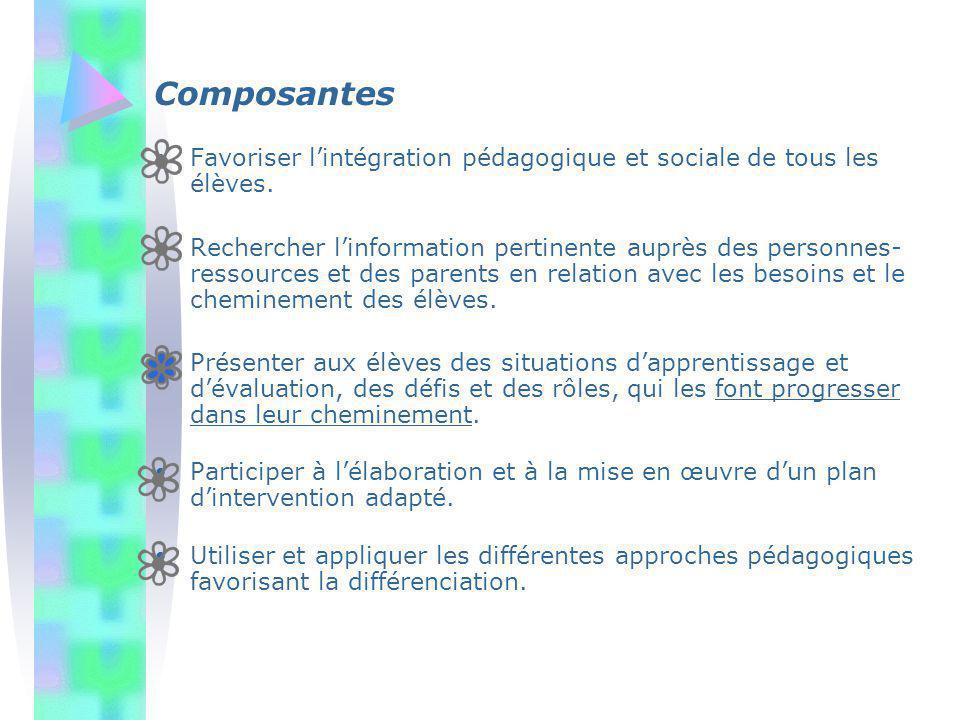Composantes Favoriser lintégration pédagogique et sociale de tous les élèves. Rechercher linformation pertinente auprès des personnes- ressources et d