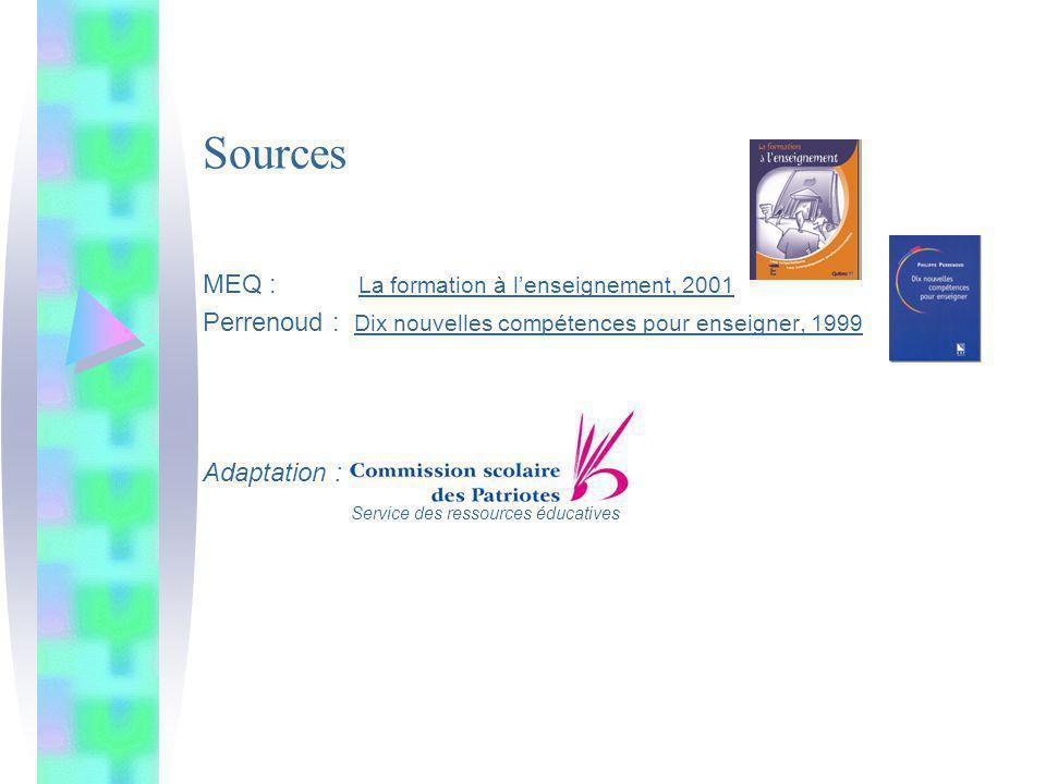 Sources MEQ : La formation à lenseignement, 2001 Perrenoud : Dix nouvelles compétences pour enseigner, 1999 Adaptation : Service des ressources éducat