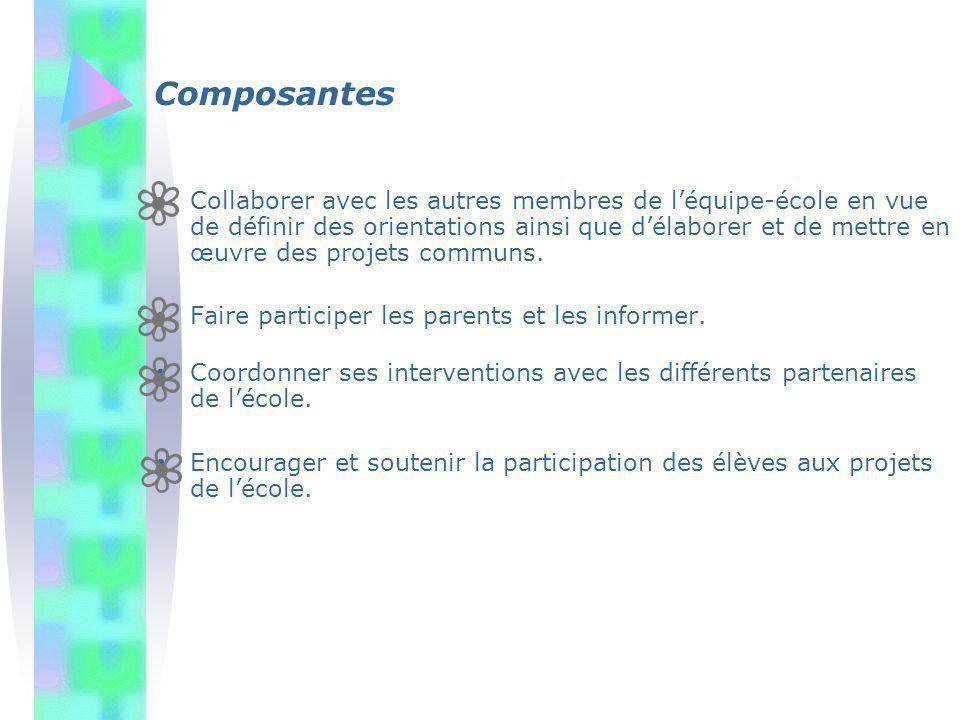 Composantes Collaborer avec les autres membres de léquipe-école en vue de définir des orientations ainsi que délaborer et de mettre en œuvre des proje