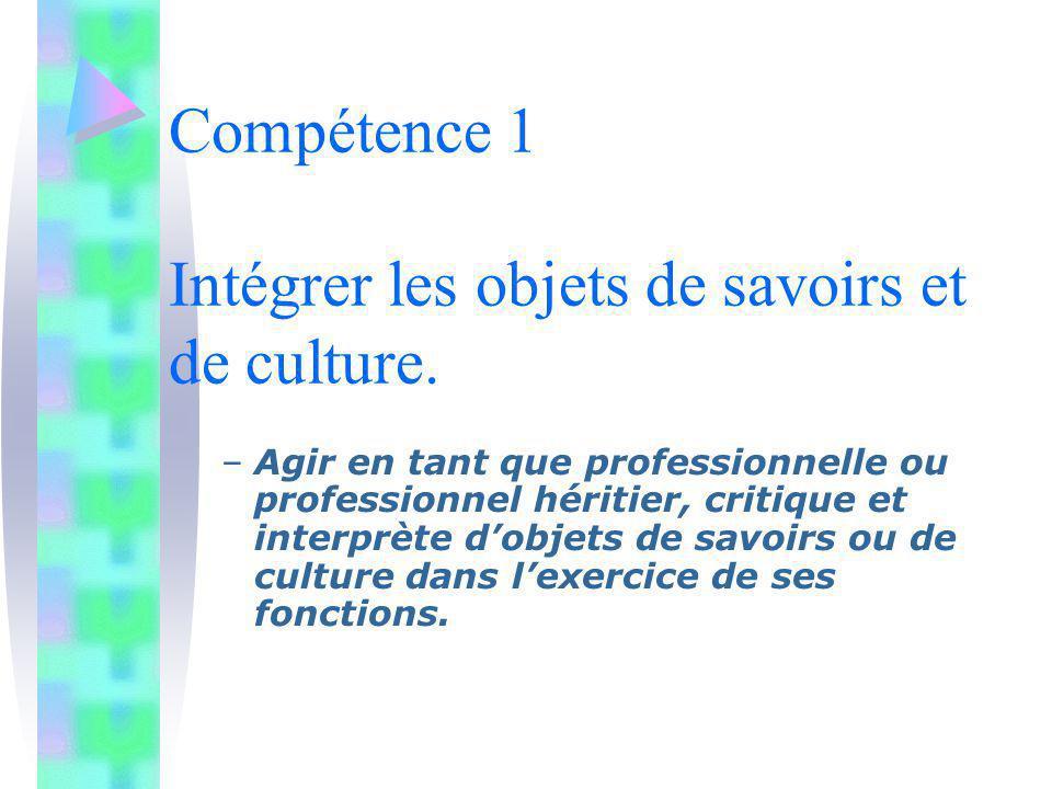 Compétence 1 Intégrer les objets de savoirs et de culture. –Agir en tant que professionnelle ou professionnel héritier, critique et interprète dobjets
