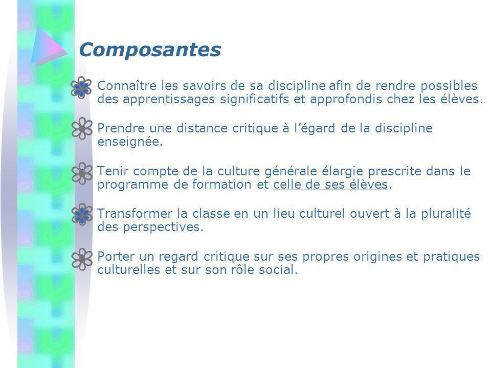 Composantes Connaître les savoirs de sa discipline afin de rendre possibles des apprentissages significatifs et approfondis chez les élèves. Prendre u
