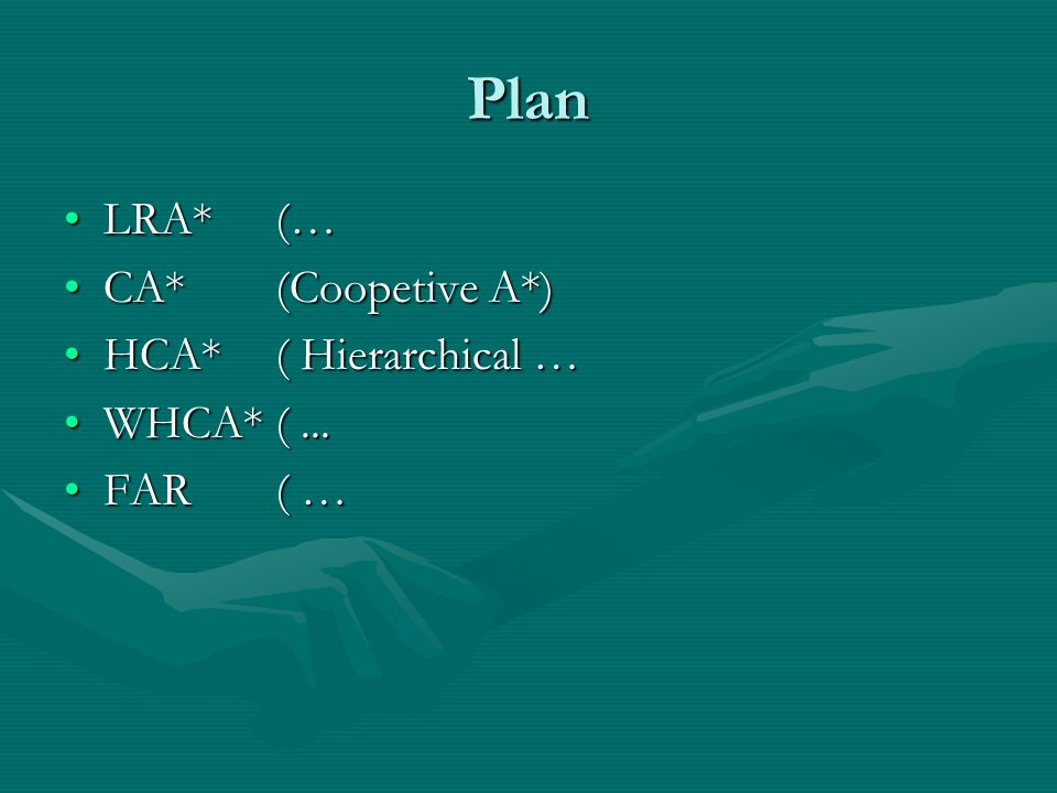 Plan LRA*(…LRA*(… CA* (Coopetive A*)CA* (Coopetive A*) HCA* ( Hierarchical …HCA* ( Hierarchical … WHCA*(...WHCA*(...