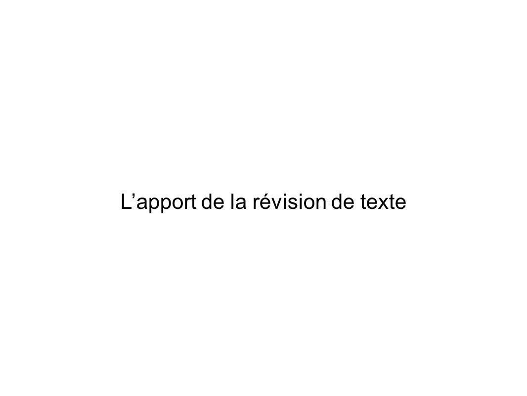 Lapport de la révision de texte