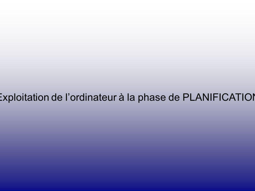 Exploitation de lordinateur à la phase de PLANIFICATION