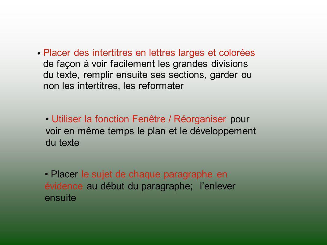 Placer des intertitres en lettres larges et colorées de façon à voir facilement les grandes divisions du texte, remplir ensuite ses sections, garder o