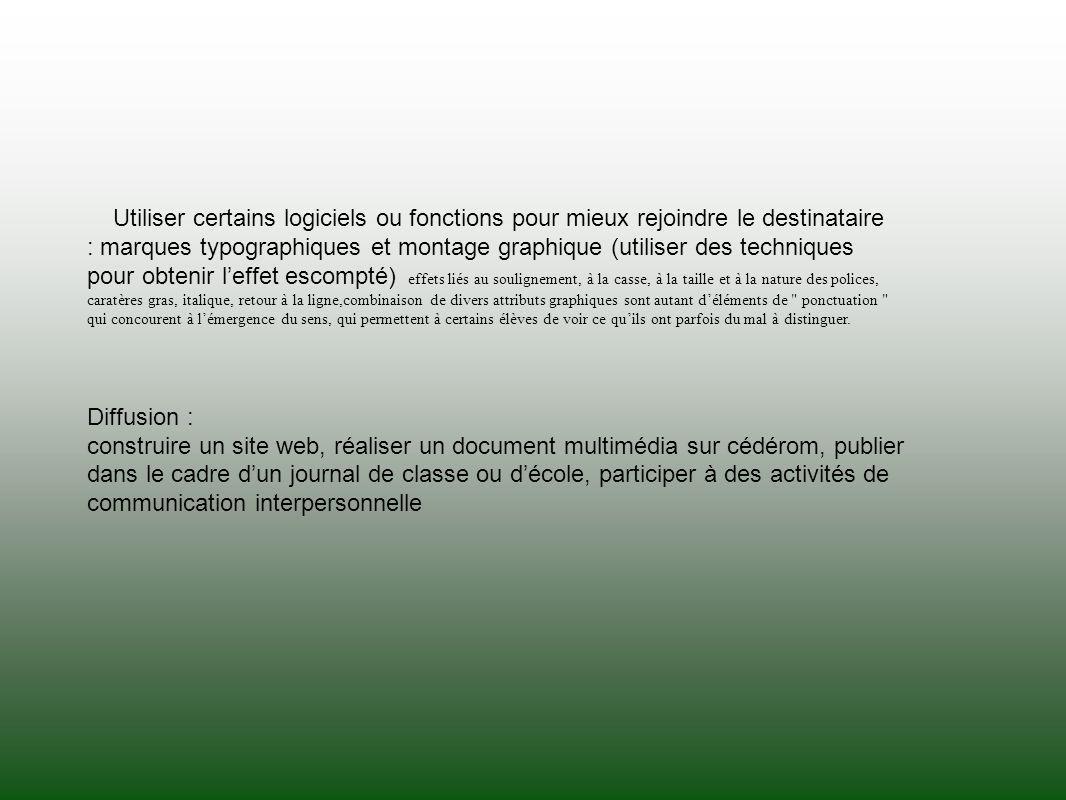 Utiliser certains logiciels ou fonctions pour mieux rejoindre le destinataire : marques typographiques et montage graphique (utiliser des techniques p
