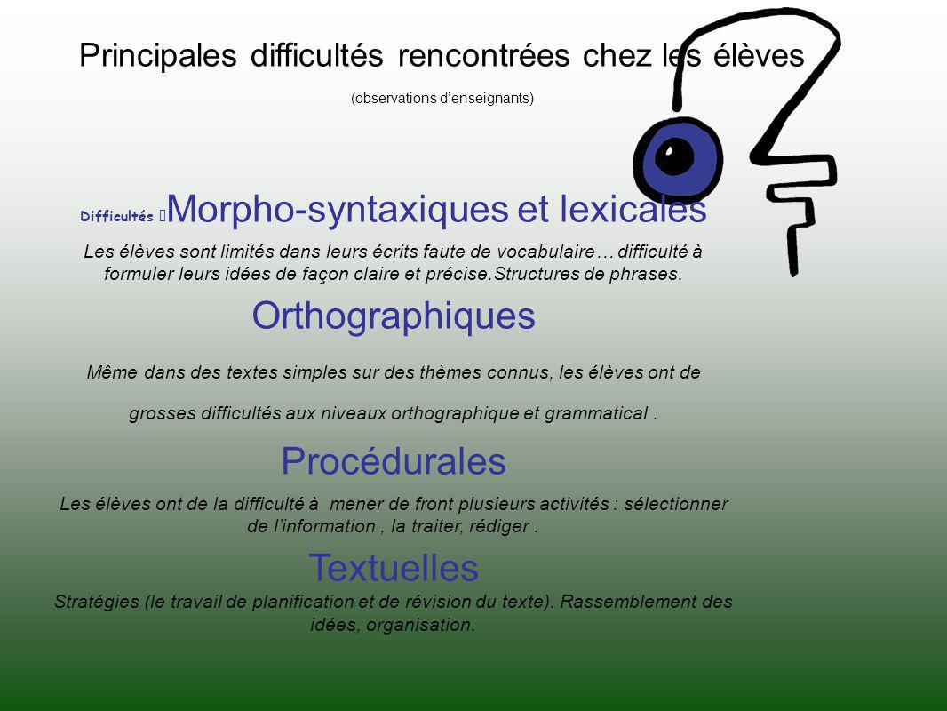 Principales difficultés rencontrées chez les élèves (observations denseignants) Difficultés Morpho-syntaxiques et lexicales Les élèves sont limités da