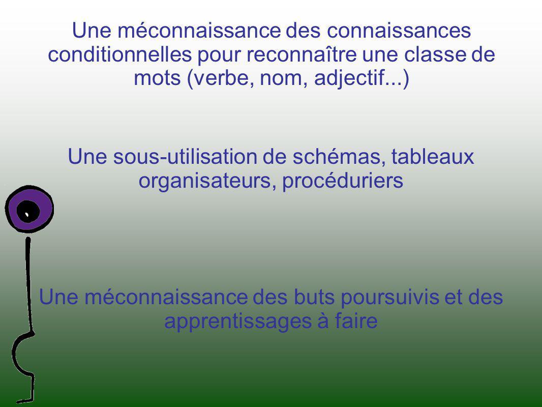 Une méconnaissance des connaissances conditionnelles pour reconnaître une classe de mots (verbe, nom, adjectif...) Une sous-utilisation de schémas, ta