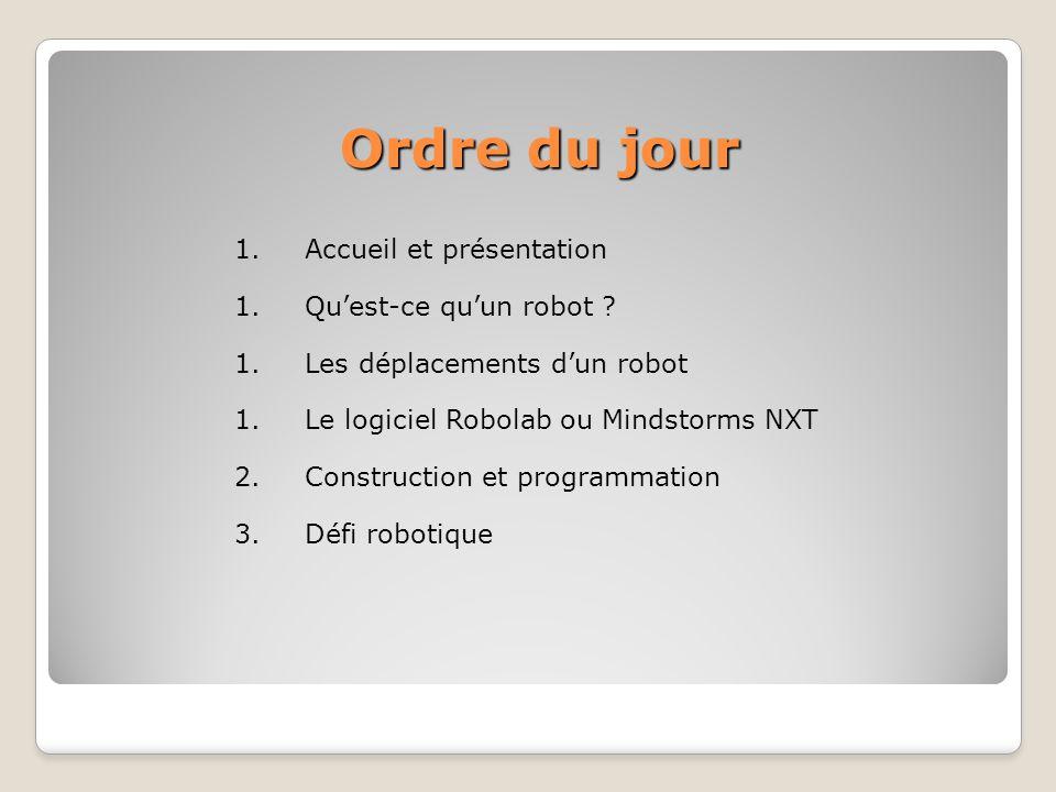 Ordre du jour Ordre du jour 1.Accueil et présentation 1.Quest-ce quun robot ? 1.Les déplacements dun robot 1.Le logiciel Robolab ou Mindstorms NXT 2.C
