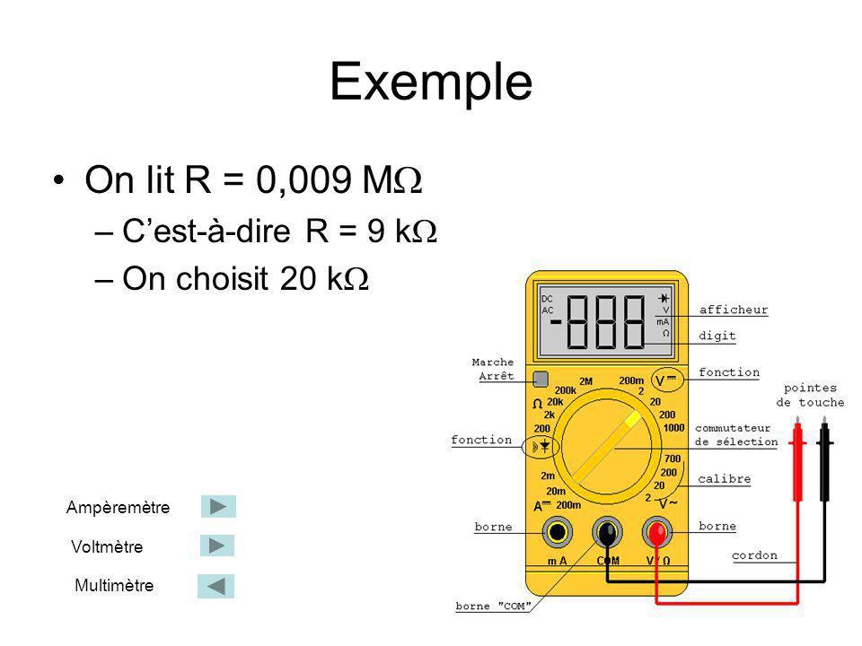 Exemple On lit R = 0,009 M –Cest-à-dire R = 9 k –On choisit 20 k Ampèremètre Voltmètre Multimètre