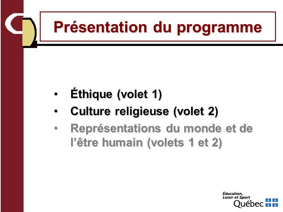 Éthique (volet 1)Éthique (volet 1) Culture religieuse (volet 2)Culture religieuse (volet 2) Représentations du monde et de lêtre humain (volets 1 et 2)Représentations du monde et de lêtre humain (volets 1 et 2)