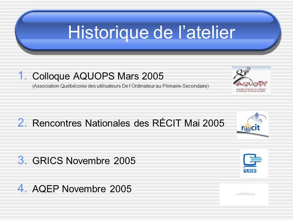 Historique de latelier 1. Colloque AQUOPS Mars 2005 (Association Québécoise des utilisateurs De lOrdinateur au Primaire-Secondaire) 2. Rencontres Nati